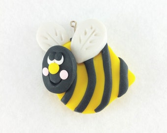 Bumble Bee Focal Pendant - Polymer Clay Bumble Bee Pendant - Bee Focal Bead - Bumble Bee Necklace - Boutique Supplies - Focal Bead - 324A