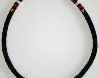 FREE SHIPPING!!  Vintage, Zulu, Seed Bead, Rope Necklace, Ethnic, Tribal, Handmade, South Africa, Boho, Cosplay
