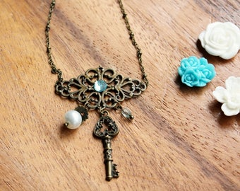 Free shipping - Filigree Bronze Necklace with Key, Pearl and Bead