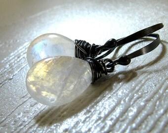 Moonstone Earrings, Rainbow Moonstone Earrings, Sterling Silver, White Gemstone, White Earrings, White Black Earrings - Moon Drops