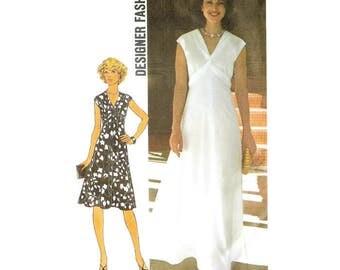 1970s Long or Short Highwaisted Dress Pattern Simplicity 7538 B32