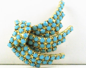 Vintage Turquoise Blue Glass Rhinestone Brooch Pin (B-2-2)