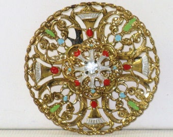 Vintage Western Germany Gold Tone Multicolored Enameled Brooch Pin (B-1-4)
