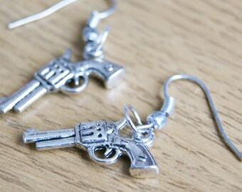 Silver Plated Gun Charm Earrings, Pierced Ears, Drop Dangle Earrings, Wire Hooks, Novelty Gift, Ladies Birthday, For Her, Costume Jewellery