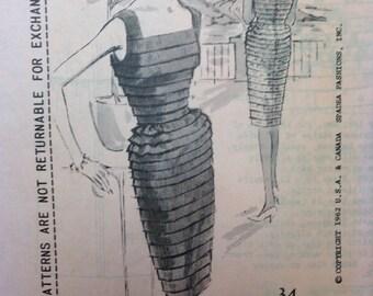 Vintage 60s Spadea Ribbon Cocktail Dress Pattern Duchess of Windsor Unused Unprinted 34 bust