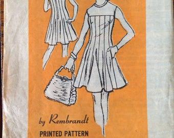 Vintage 60s Gored Dress Pattern Designer Rembrandt 36 bust mod sleeveless