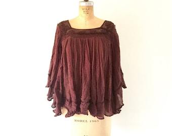 1970s Vintage Cotton Gauze Crepe Top Bell Sleeve Shirt Crochet Brown Blouse M
