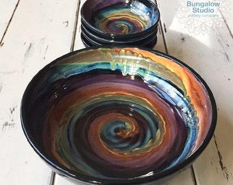 Large Ceramic Serving Bowl with 4 Pasta Bowls, Pasta Bowl Set, Wedding Gift