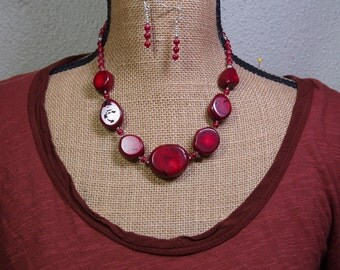 Natural AAA Red Coral Gemstone, 925 Silver Necklace and Earrings
