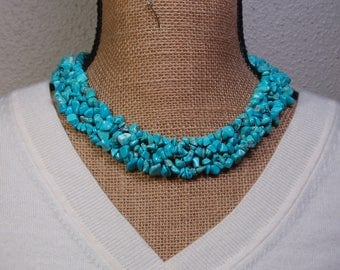 Natural American Turquoise Gemstone Chips .925 Silver Band Necklace
