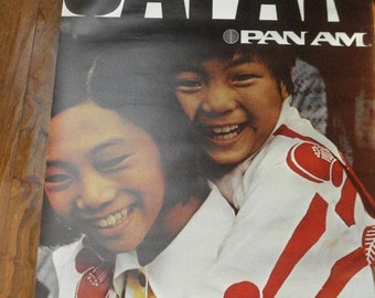 30% off SALE Flyin' High - Vintage Airline Poster - Pan Am Japan Poster