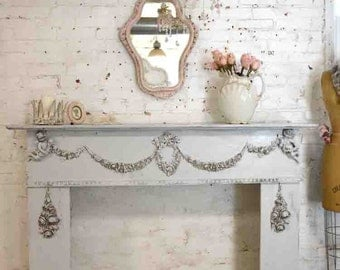 Painted Cottage Chic Shabby Gray Fireplace Mantle