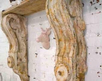 Painted Cottage Chic Shabby Corbel   Shelf  / Mantel Shelf