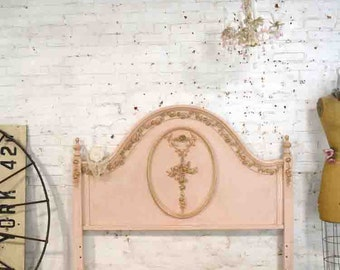 Painted Cottage Pink Romantic French Bed Twin or Full/Double Headboard Only DANBED