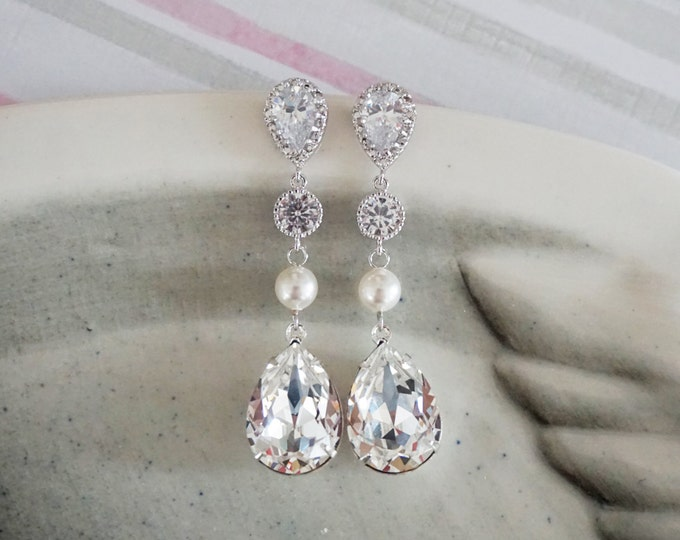 Catherine - Swarovski Crystal Teardrop Earrings, Bridal Wedding Bridesmaid Earrings, Cubic Zirconia Pearl Earrings, White weddings jewelry