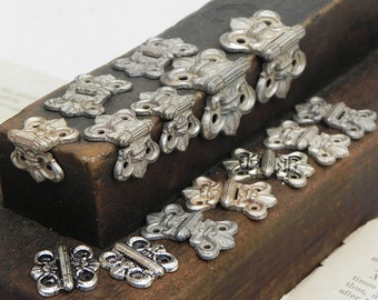 14 Ornate Small Cast Metal Vintage Hinges Jewelry Treasure Box Steampunk Assemblage Craft Supply Repurpose