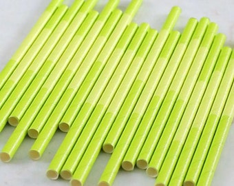 Lime Green Paper Cocktail Straws, Two Tone Lime Green Paper Straws, Lime Green Cake Pop Sticks, Drinking Straws, Short Paper Straws