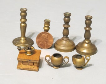 Dollhouse Miniature Set of 7 / Vintage Wood & Metal Coffee Grinder Mill Brass Candle Holders Tiny Sugar and Creamer Kitchen Accessory Rustic