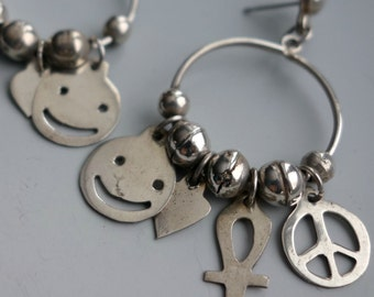 Peace Love Smiley Face Ankh Vintage Sterling Mexico Earrings