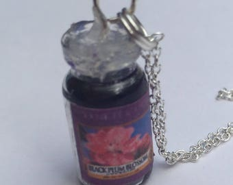 Polymer clay miniature black plum blossom yankee candle necklace