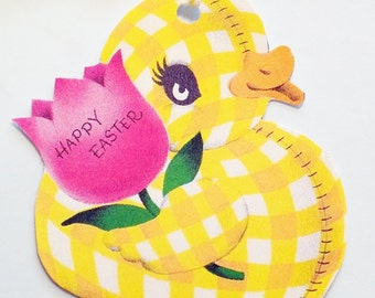 Gingham Duck - Easter Tags - Set of 3 - Retro Duck Tags - Pink Flower - Yellow Duck Tag - Vintage Easter Duck - Toy Duck Tag - 1950's Duck