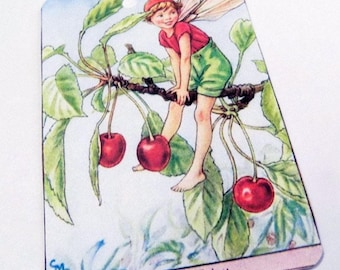 Cherry Fairy Tags - Set Of 3 - Cherry Fruit Tags - Edwardian Fairy - Red And Green - Spring Fruit Tag - Orchard Fairy - Gift Tags