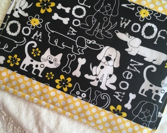Snack Mat, Mug Rug, Cats and Dogs ,Black and White Cats and Dogs With Yellow Dot Trim