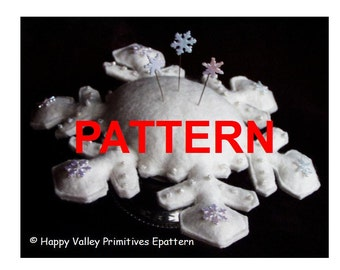 Snowflake Pincushion PATTERN Tutorial Instant Digital Download PDF epattern by Happy Valley Primitives