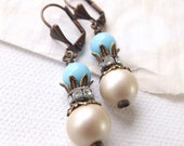 Ivory Pearl and Sky Blue Drop Earrings - short dangle, lever backs, spring theme, bridal earring, vintage style
