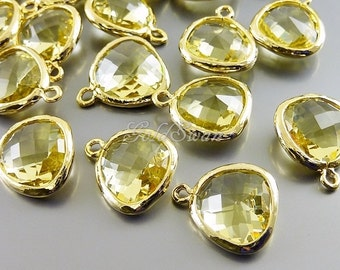 2 lemon yellow unique glass charms for jewelry making, glass stone pendants / charms 5031G-LM