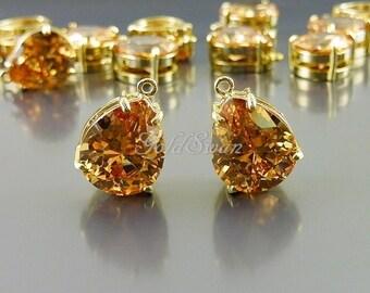2 CZ Cubic Zirconia teardrop pendants in champagne color, CZ necklace pendants 5067G-Czch champagne (cz)