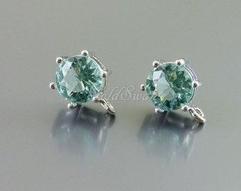 2 pcs aquamarine aqua blue color 7mm round glass stud earrings, wedding bride / bridesmaids earrings 5139R-AQ