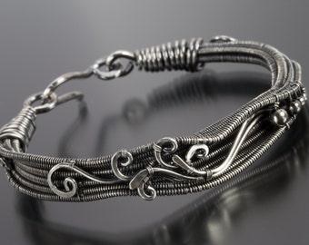Fine Silver and Sterling Silver Bracelet, 6.5 inch bracelet- Lillium