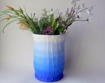 Cobalt Blue ombre Vase / blue home decor / handcrafted vase / blue flower vase / cylinder vase / set of 2