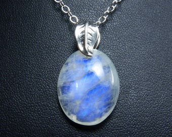 Rainbow Moonstone Necklace, Natural Rainbow Moonstone Pendant, Vibrant and Intense Cornflower Blue and Sky Blue Fire, Sterling Silver