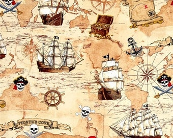 Pirates Cove Treasure Fabric -- LAST Piece -- HARD Find --40-70% off Patterns n Books SALE