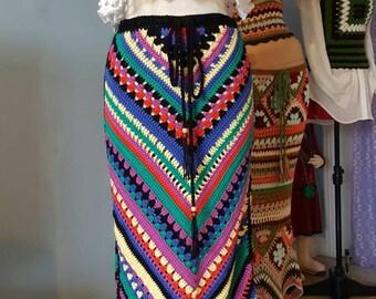 Womens Crochet Hippie Gypsy Skirt
