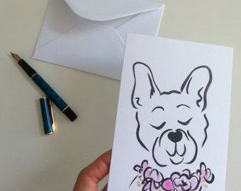 French Bulldog notecard, Frenchie dog greeting card, Frenchie card, Frenchie stationery