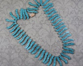 RESERVED: Vintage Mexican Sterling Silver Crushed Inlaid Turquoise TC-14 Fringe Necklace