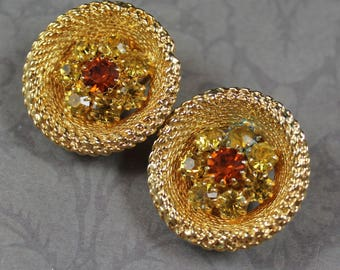 Vintage NOS Yellow and Orange Rhinestone Gold Tone Woven Round Clip on Earrings