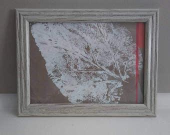 Original framed acrylic leaf print on kraft paper