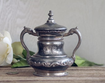 Vintage Silver Sugar Bowl - Poole Etched Silverplate Sugar Bowl Mono CAN
