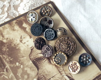 Antique Victorian BUTTON Lot Steel Cut Dyed Metal Black Glass Perfume and more Sewing Buttons