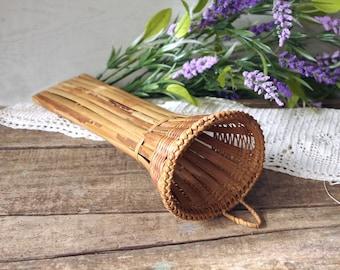 Vintage Hanging Bamboo Flower Container Basket Holder