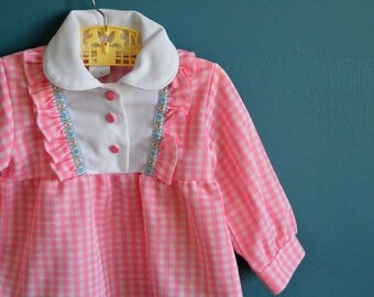 Vintage Girl's Pink and White Gingham Smock Top - Size 3T