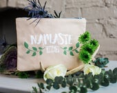 """NEW Spring 2017 quote zipper bags. """"Namaste Bitches"""""""