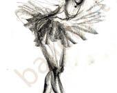 reserved for Lisa, ballet art, pencil sketch, art print, illustration, black and white, wall art, interior design, The black swan, artwork