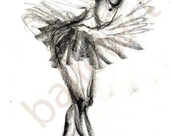ballet art, pencil sketch, art print, illustration, black and white, wall art, interior design, The black swan, artwork