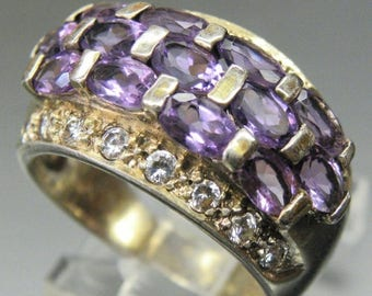 SALE CLEARNCE SALE Beautiful Faceted Amethyst  and Crystal Vintage Ring