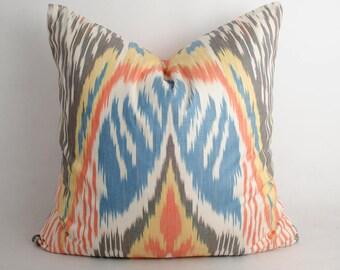 20x20 ikat pillow cover, blue, yellow, brown, cushion, decorative pillow